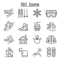 skidikoner i tunn linje stil