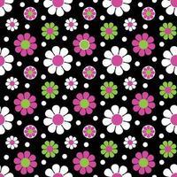 mod rosa grön svart sömlös tusensköna blommönster vektor