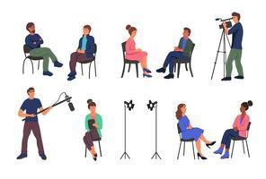 Aufnahme eines journalistischen Interviews im Studio vektor