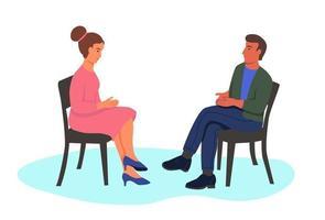 man och kvinna sitter i stolar vektor