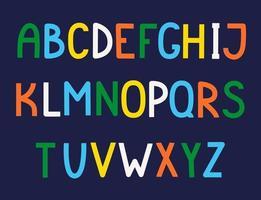 handgezeichnetes niedliches englisches Alphabet. vektor