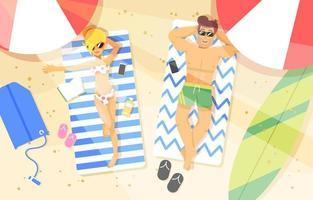 Sommerferien am Strand entspannen vektor