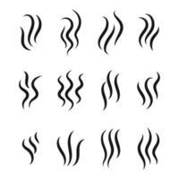 Wellenlinienvektor von aufsteigendem Dampf oder Rauch. Kaffeearoma-Linienkonzept lokalisiert auf weißem Hintergrund. vektor