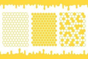 gelber sechseckiger Wabengittervektor mit dem Honig, der auf den Boden tropft vektor