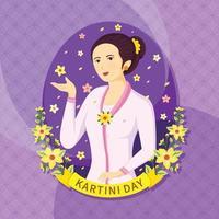 glad kartini dag med lila prydnad