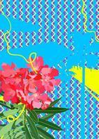Blume und tropische Pflanze auf grafischem Element der 80er Jahre vektor