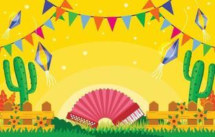 festa junina med gul bakgrund vektor