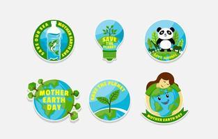 Earth Day Aufkleber Konzept vektor