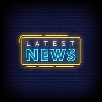 neueste Nachrichten Leuchtreklame Stil Textvektor vektor