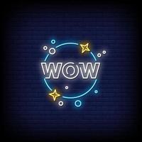Wow Neon Zeichen Stil Text Vektor