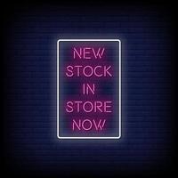 neuer Lager Neonzeichen Stil Text Vektor