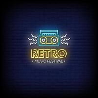 Retro Musik Festival Leuchtreklamen Stil Text Vektor