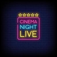 Kino Nacht Live Neonschilder Stil Text Vektor