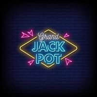 grand jackpot neonskyltar stil text vektor
