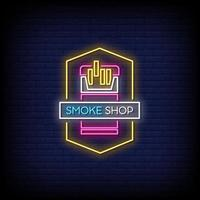 rök butik neonskyltar stil text vektor