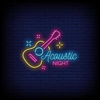 akustisk natt neon skyltar stil text vektor