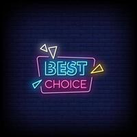 beste Wahl Neonzeichen Stil Textvektor vektor