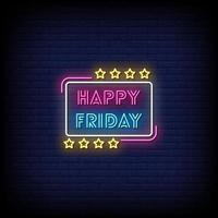 Happy Friday Neonschilder Stil Text Vektor