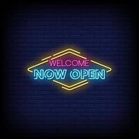 Willkommen jetzt offen Neonzeichen Stil Textvektor vektor