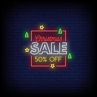 Weihnachtsverkauf Leuchtreklamen Stil Text Vektor