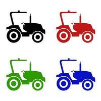 Satz Traktor auf weißem Hintergrund vektor