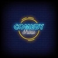 Comedy Show Leuchtreklamen Stil Text Vektor