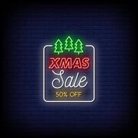 Weihnachtsverkauf Leuchtreklamen Stil Textvektor vektor