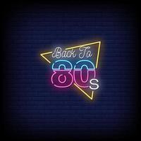 tillbaka till 80-talet neonskyltar stil text vektor
