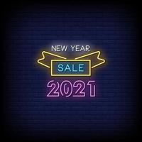 Neujahrsverkauf 2021 Leuchtreklamen Stil Text Vektor
