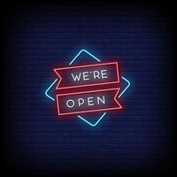 vi är öppna neonskyltar stil text vektor