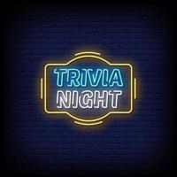 Trivia Nacht Neonzeichen Stil Text Vektor