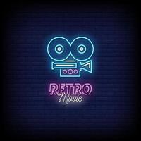 Retro Film Neon Zeichen Stil Text Vektor