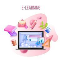onlineutbildning, webbutbildning, internetskola, koncept för digitala universitetskurser vektor