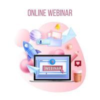 online webinar, digital vektorträning, internet föreläsning videokonferens utbildningskoncept vektor