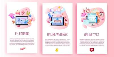 online webinar, e-learning, internet test utbildning sociala medier mall set vektor