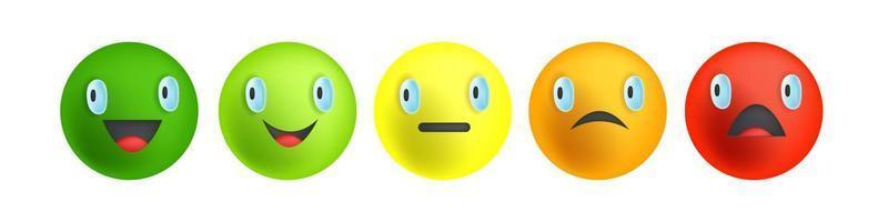 Feedback-Leiste, Umfrage zur Kundenzufriedenheit, Vektorfarben-Lächeln-Set vektor