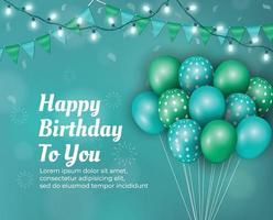 Alles Gute zum Geburtstag Hintergrund mit Luftballons und Lichtern vektor