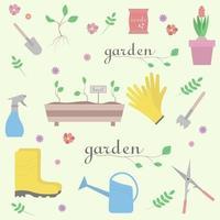 Sammlung von Gartenelementen. nahtloses Muster von Grüns, Blumen, Topf, Gummistiefeln, Gießkanne, Schaufel, Samen. vektor