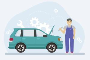 Mann im Overall repariert ein Auto mit einem Schraubenschlüssel. Vektorillustration eines Mechanikers. vektor