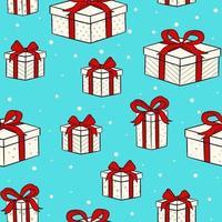 Weihnachtsentwurf mit Geschenkboxen mit roter Schleife. Druck für Geschenkpapier und Designelemente für den Urlaub. vektor