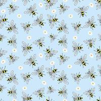 Skizze Biene nahtloses Muster. lustiger Hintergrund mit Insekten. handgezeichnetes Design für Verpackungs-, Textil- oder Honigverpackungen. vektor