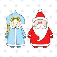 russischer Weihnachtsmann und Schneewittchen auf einem weißen Hintergrund mit Schneeflocken. lustige Neujahrscharaktere. vektor