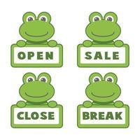 offene und geschlossene Schilder, Frosch. Vektor-Ikonen-Illustration. vektor