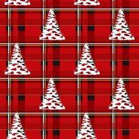 Baum auf Hintergrundweihnachtszelle. nahtloses Weihnachtsmuster. vektor