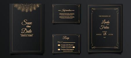 Luxus-Hochzeitseinladungskarten-Design-Set vektor