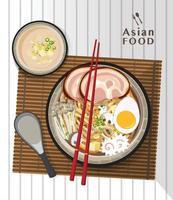 Ramen-Nudel, traditionelle asiatische Nudelsuppe, Illustrationsvektor. vektor