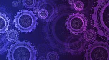 titta på digital teknik växlar hjul och kuk med kretslinjebakgrund. vektor