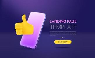 Promo-Landingpage-Vorlage mit modernem Smartphone. Vorlage mit Beispieltext vektor