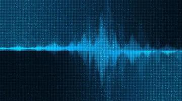 digital ljudvåg låg och hög rikare skala på blå bakgrund vektor