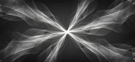 abstrakt vit jordbävningsvåg på svart bakgrund, koncept för ljudvågdiagram vektor